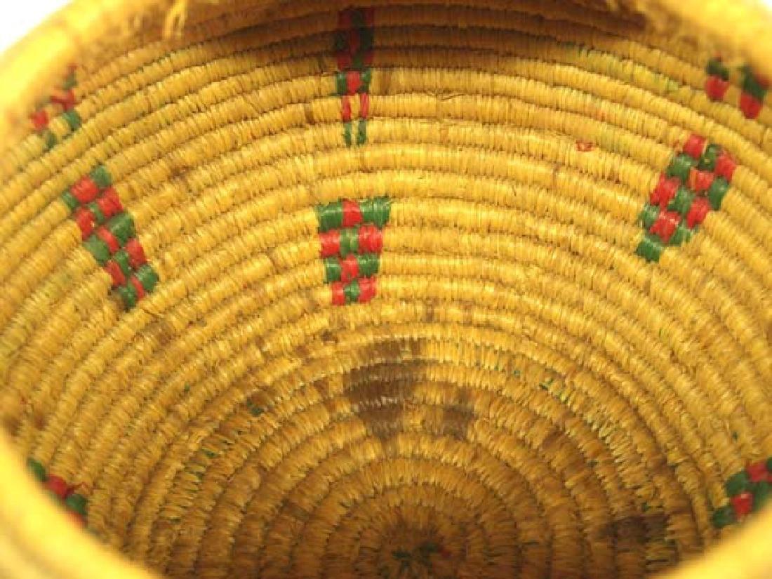 Vintage Eskimo Tri Colored Lidded Basket - 3