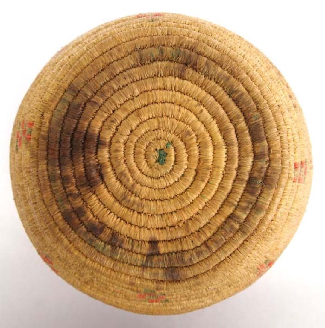 Vintage Eskimo Tri Colored Lidded Basket - 4