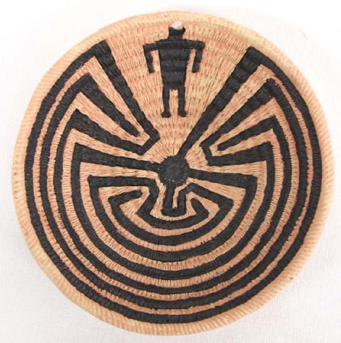 Yaqui  Man in Maze Pottery Basket by Whitefeather