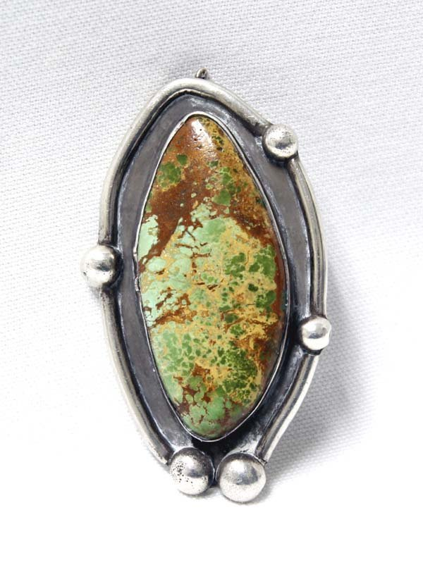 Navajo Old Pawn Silver & Landers Turquoise Pendant