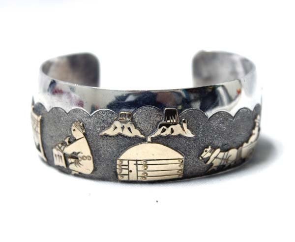 Navajo Gold on Silver Storyteller Hallmarked Bracelet
