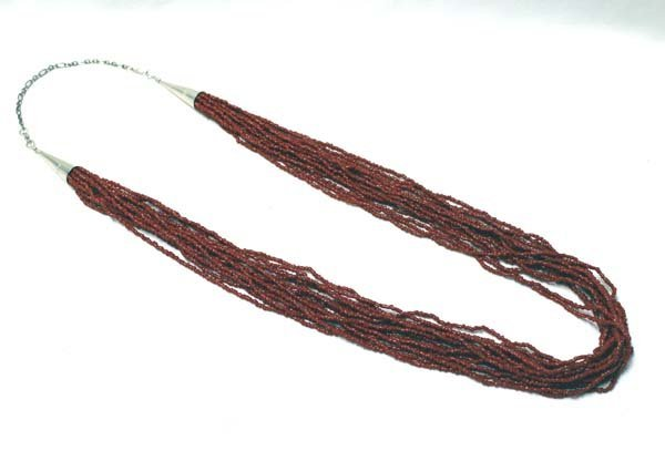 Navajo 16 Strand Red Seed Bead Necklace