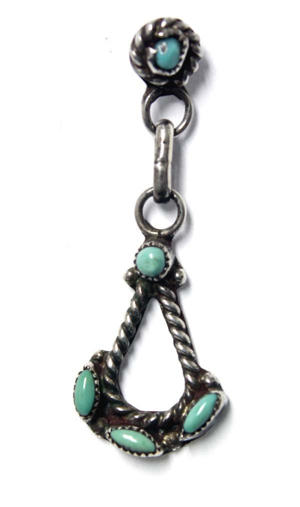 Zuni Sterling Petit Point Turquoise Earrings - 2