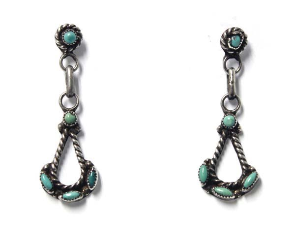 Zuni Sterling Petit Point Turquoise Earrings - 3