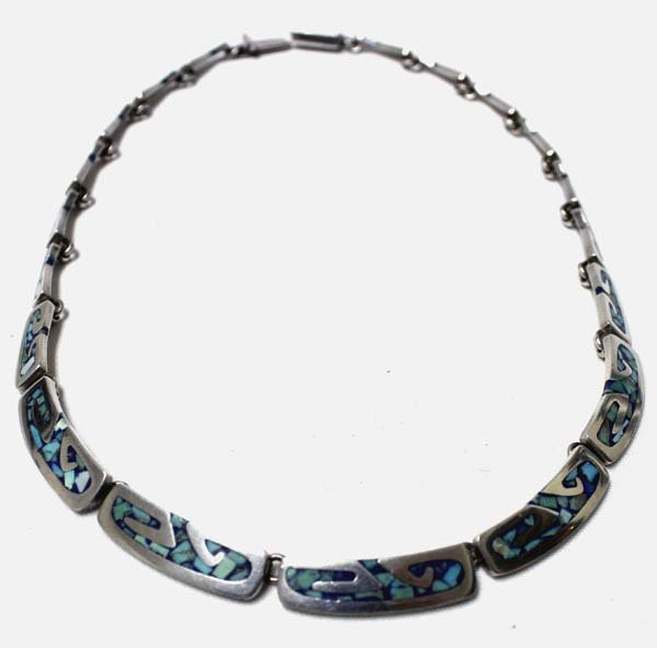 Taxco Mexican Sterling Inlay Turquoise  Necklace