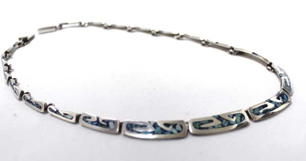 Taxco Mexican Sterling Inlay Turquoise  Necklace - 3
