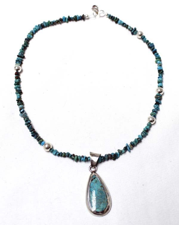 Turquoise Nugget & Silver Bead Pendant Necklace