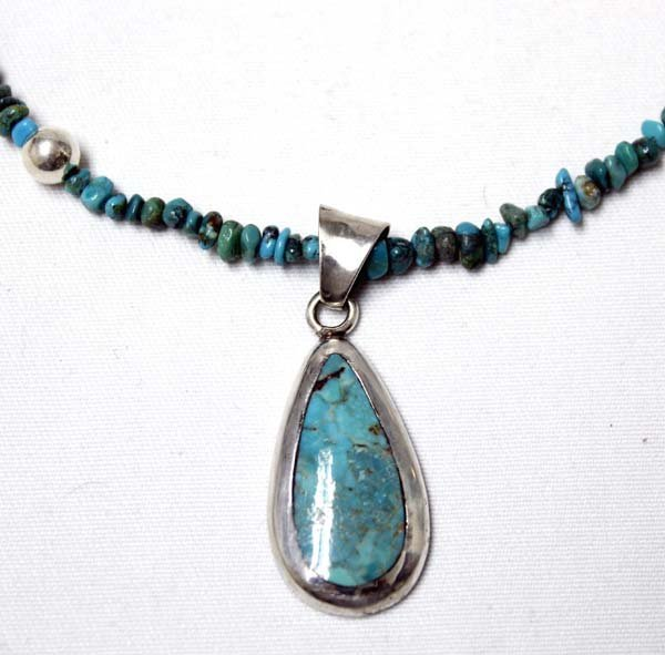 Turquoise Nugget & Silver Bead Pendant Necklace - 2
