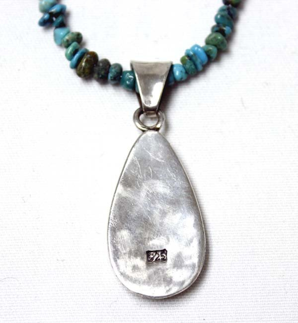 Turquoise Nugget & Silver Bead Pendant Necklace - 3
