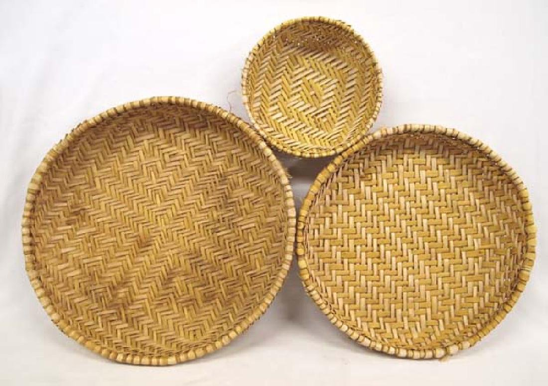 Set of 3 Hopi Plaited Sifter  Baskets