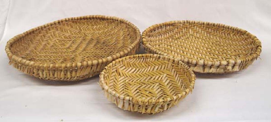 Set of 3 Hopi Plaited Sifter  Baskets - 2