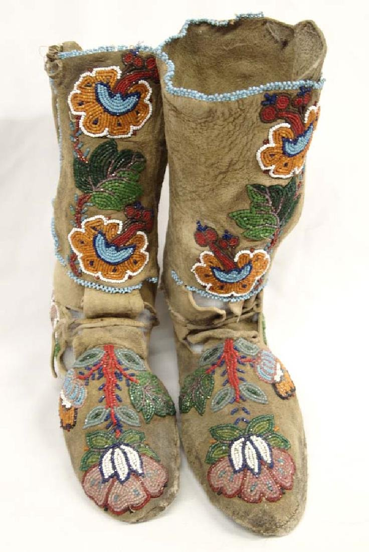 Antique Iroquois Beaded Leather High Top Moccasins