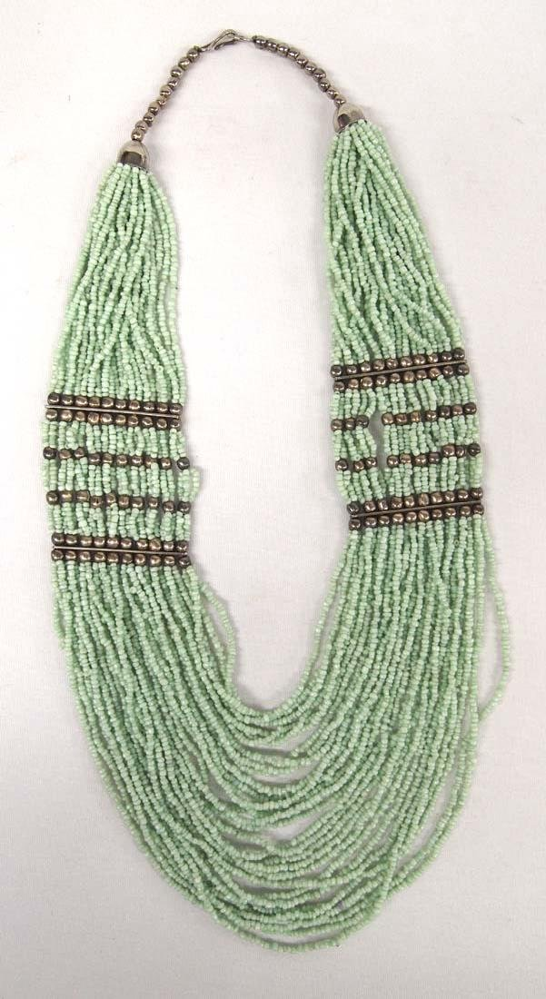Sterling Green Seed Bead Multi Strand Necklace