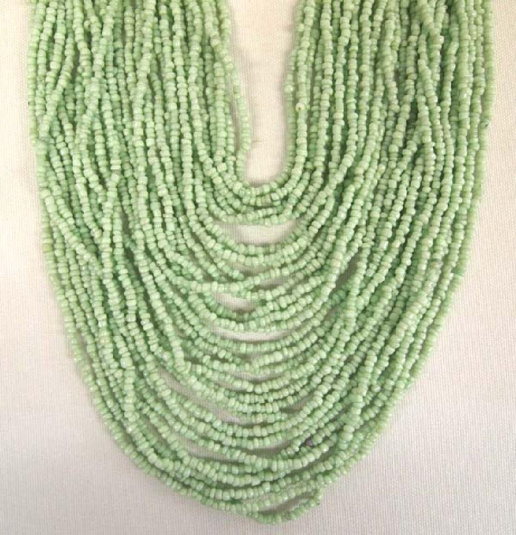 Sterling Green Seed Bead Multi Strand Necklace - 2