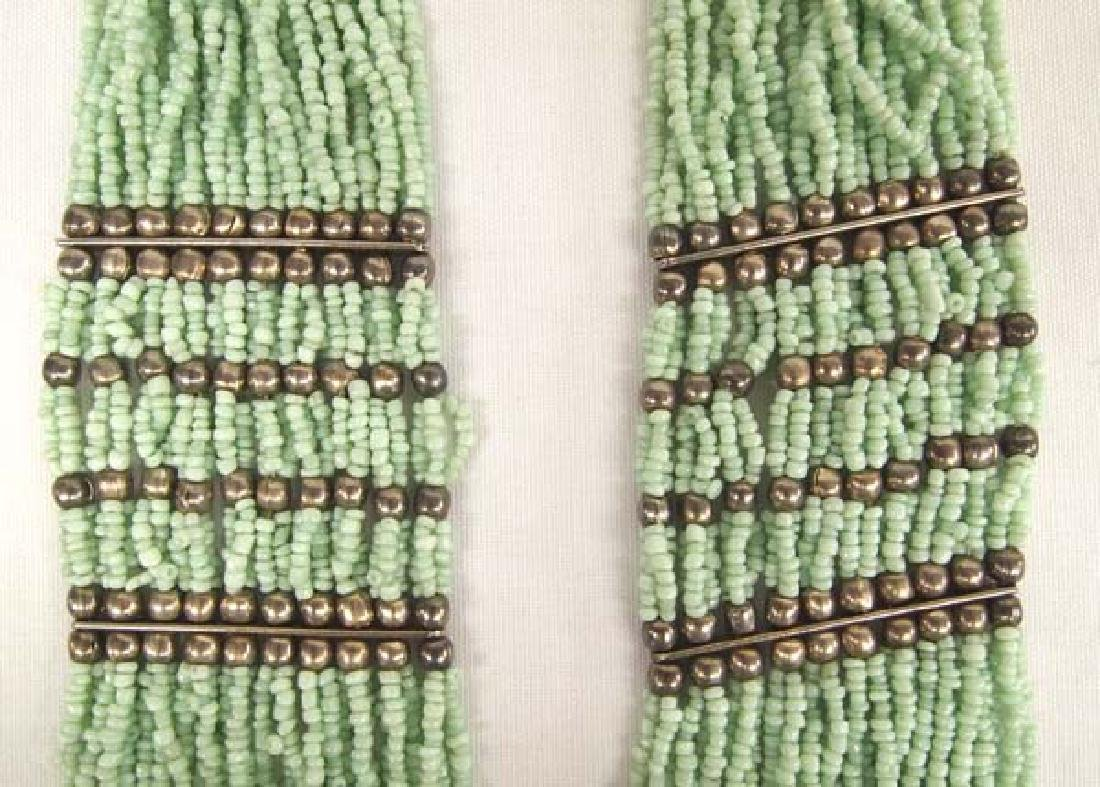 Sterling Green Seed Bead Multi Strand Necklace - 3
