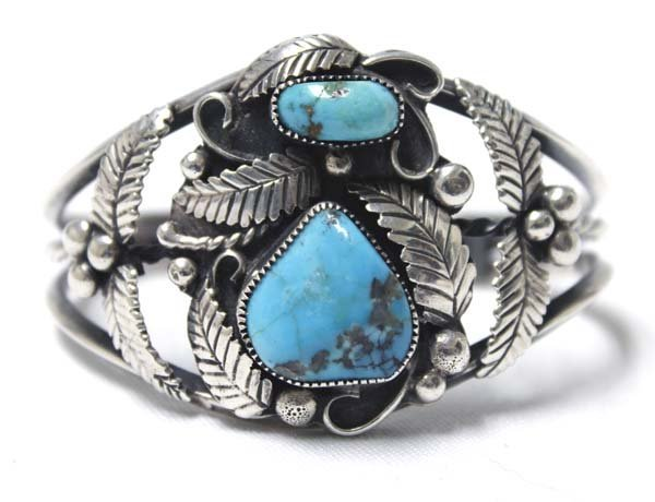 Navajo Old Pawn Sterling Turquoise Bracelet