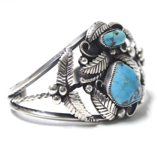 Navajo Old Pawn Sterling Turquoise Bracelet - 2