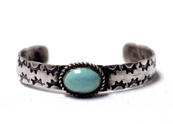Navajo Old Pawn SSilver & Turquoise Bracelet