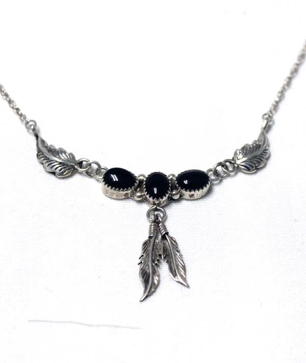 Navajo Sterling Silver & Onyx Necklace