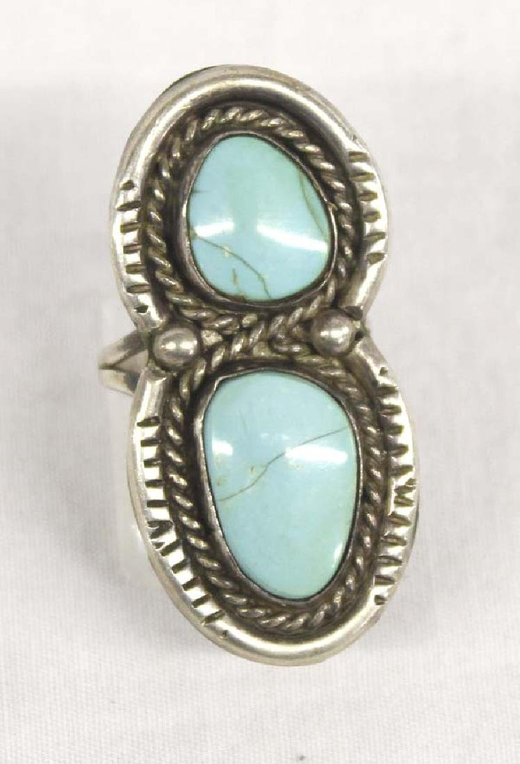 Navajo Old Pawn Silver Sleeping Beauty Turquoise Ring