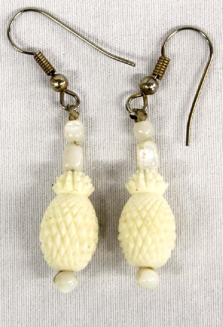 Carved Bone Pineapple Pierced Earrings