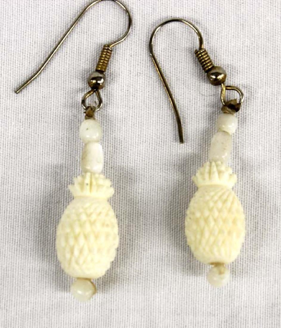 Carved Bone Pineapple Pierced Earrings - 2