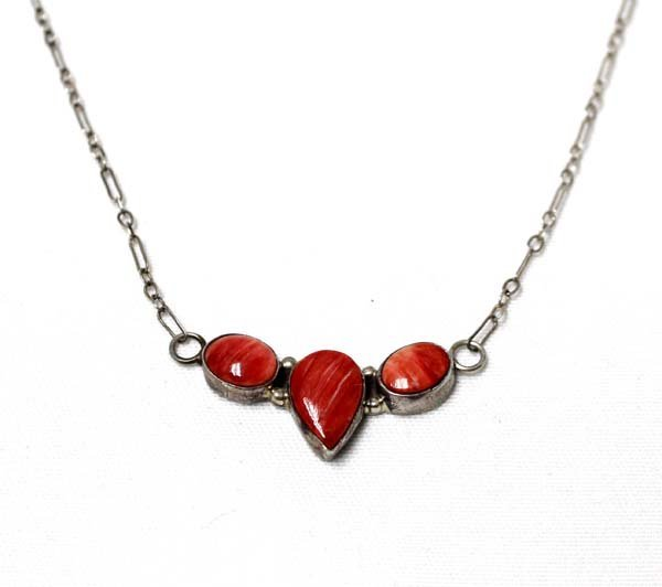 Navajo Sterling  Red Shell Pendant Necklace