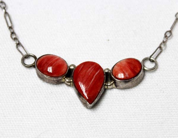 Navajo Sterling  Red Shell Pendant Necklace - 2