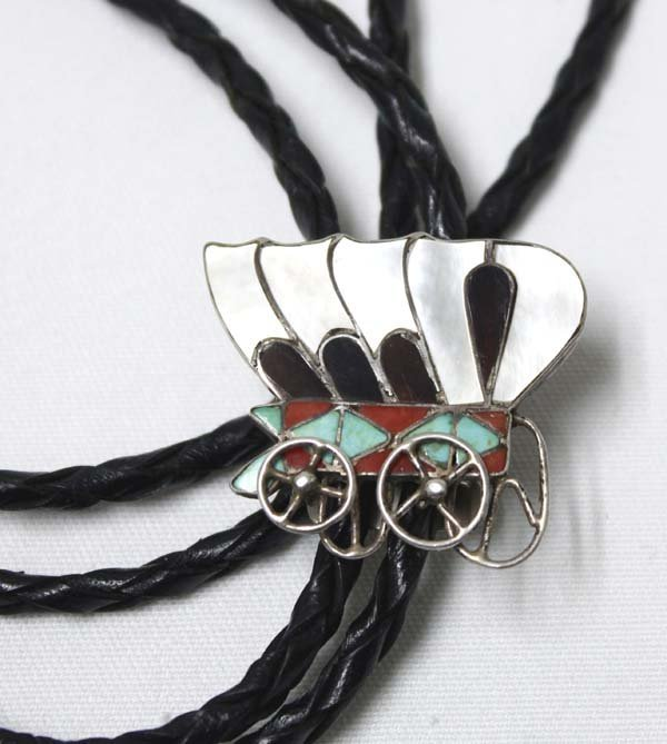 Zuni Silver Inlay Conestoga Wagon Bolo by Dishta - 2