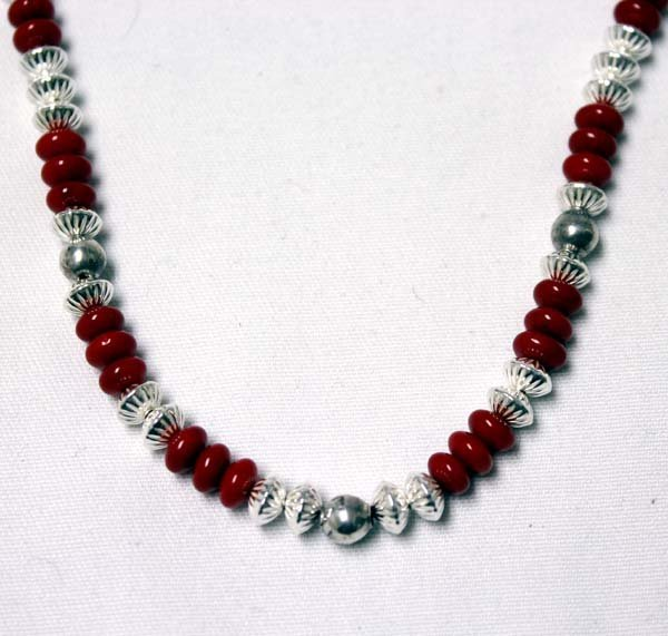 Coral and Fluted Silver Bead Necklace - 2