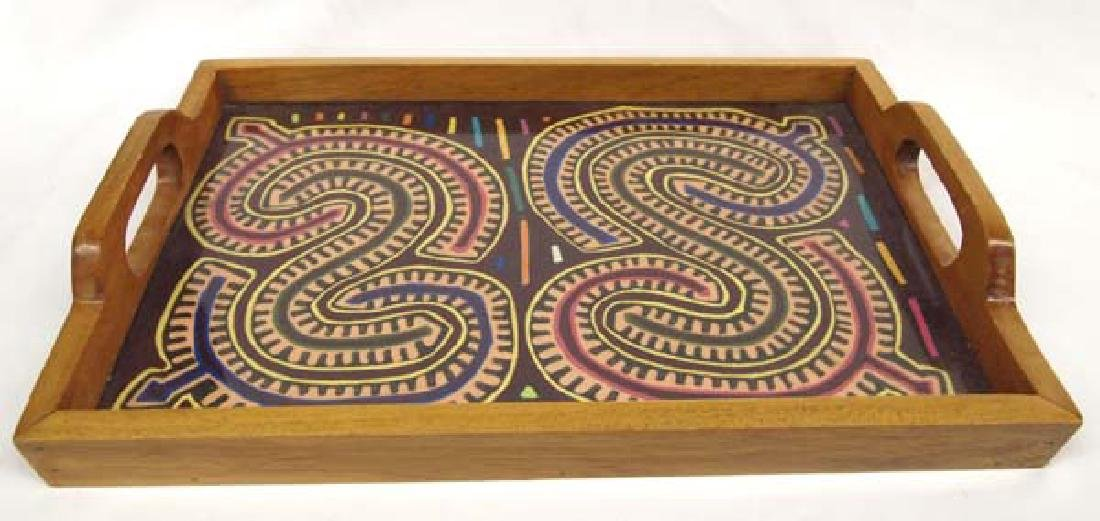 Wood Tray with Kuna Indian Mola Under Glass Base - 2