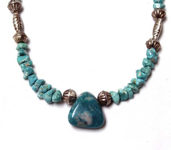 Navajo Sterling Bead & Turquoise Nugget Necklace - 2