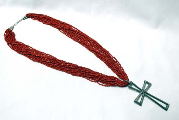 Navajo Coral Bead and Cross Pendant Necklace