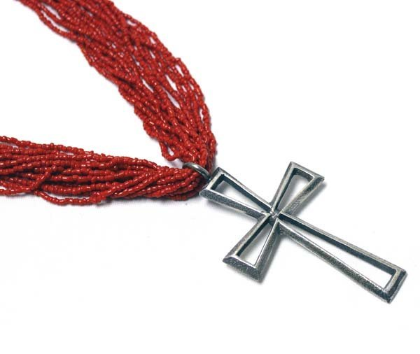 Navajo Coral Bead and Cross Pendant Necklace - 2