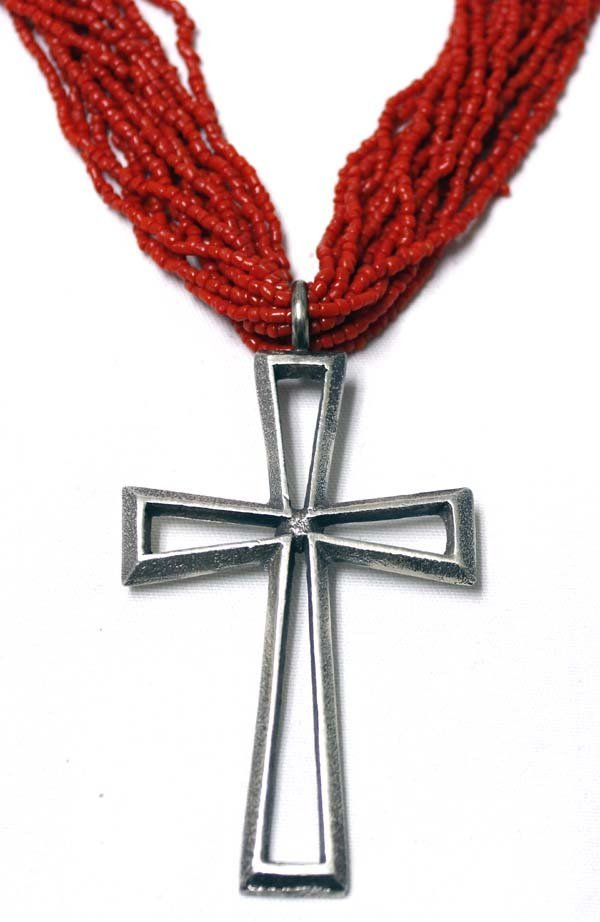 Navajo Coral Bead and Cross Pendant Necklace - 3