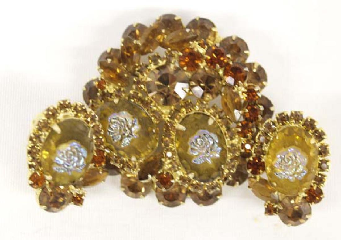 Antique Estate Citrine & Iridesent Rose Jewelry