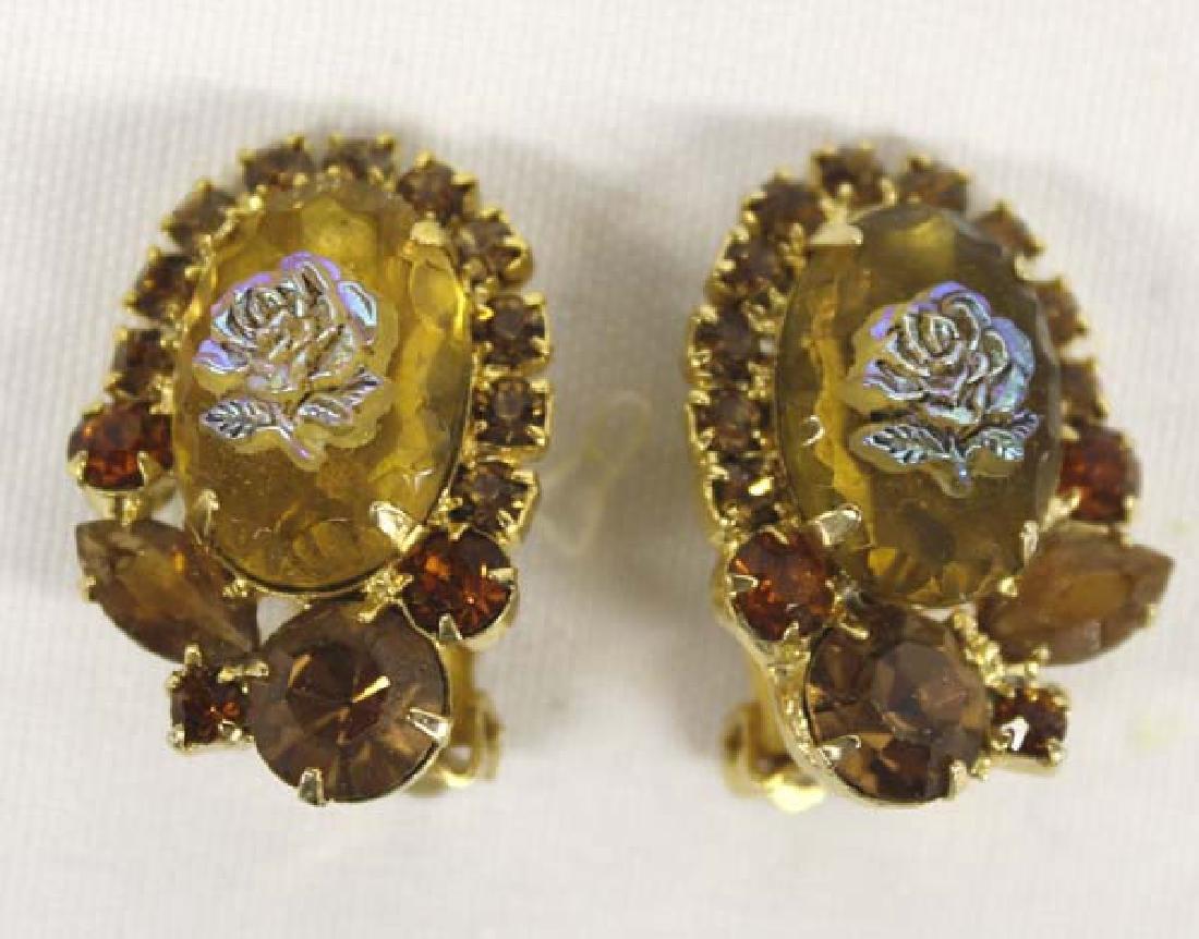 Antique Estate Citrine & Iridesent Rose Jewelry - 4