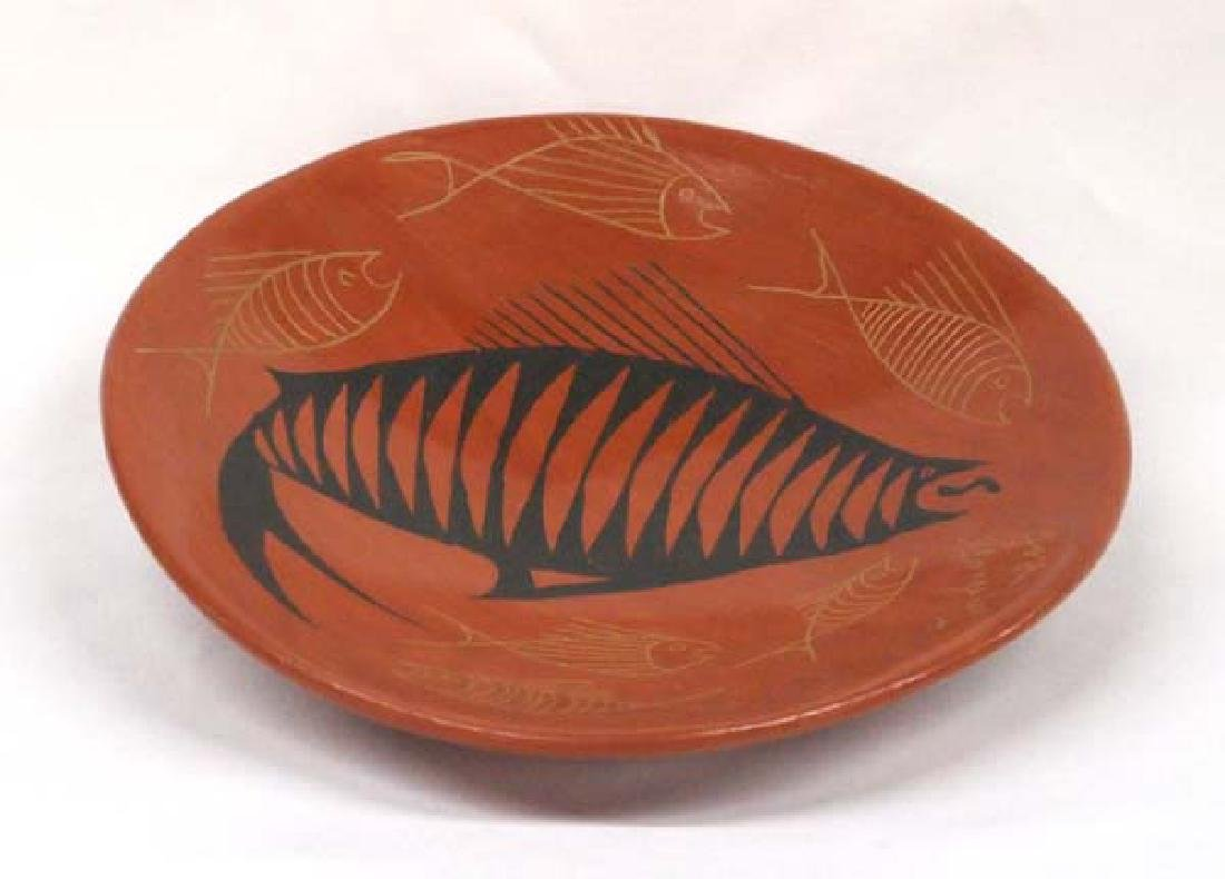 Mata Ortiz Fish Design Shallow Bowl