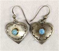 Navajo Sterling Silver Heart Earrings