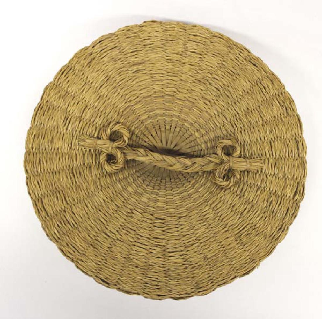 Vintage Penobscot Sweet Grass Sewing Basket - 2