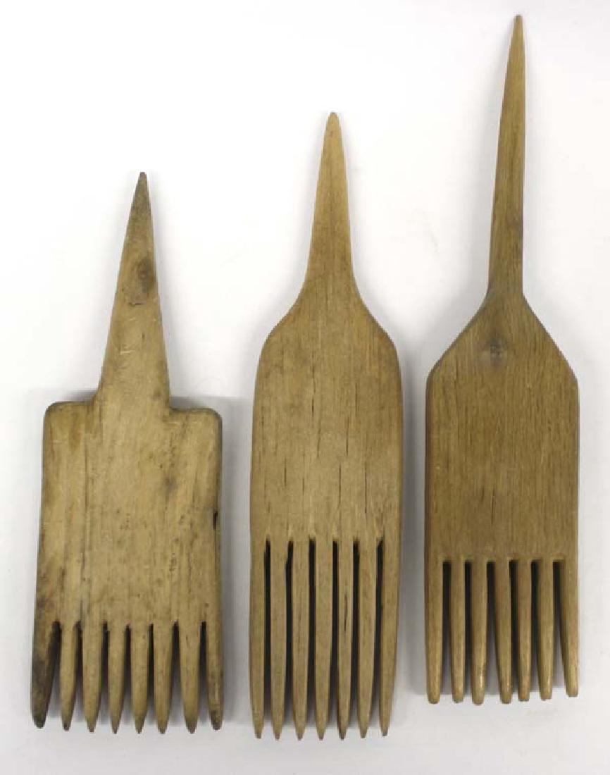 3 Navajo Carved Wood Wool Weaving Combs - 2