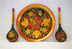 Russian Plate & Spoons 8in D SH $10