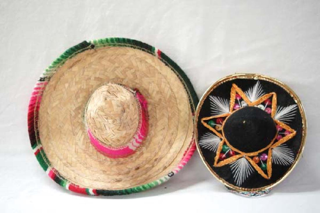 2 Small Mexican Sombreros, 9 in. Largest, S&H $10