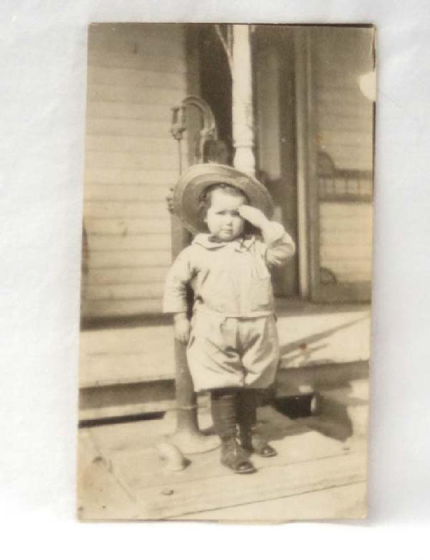Old Photo of Boy Saluting, 5.5 in., S&H $10