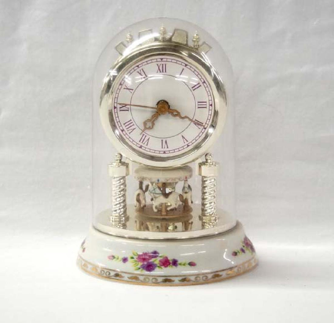Glass Dome Carousel Clock 6 1/2in H SH $15