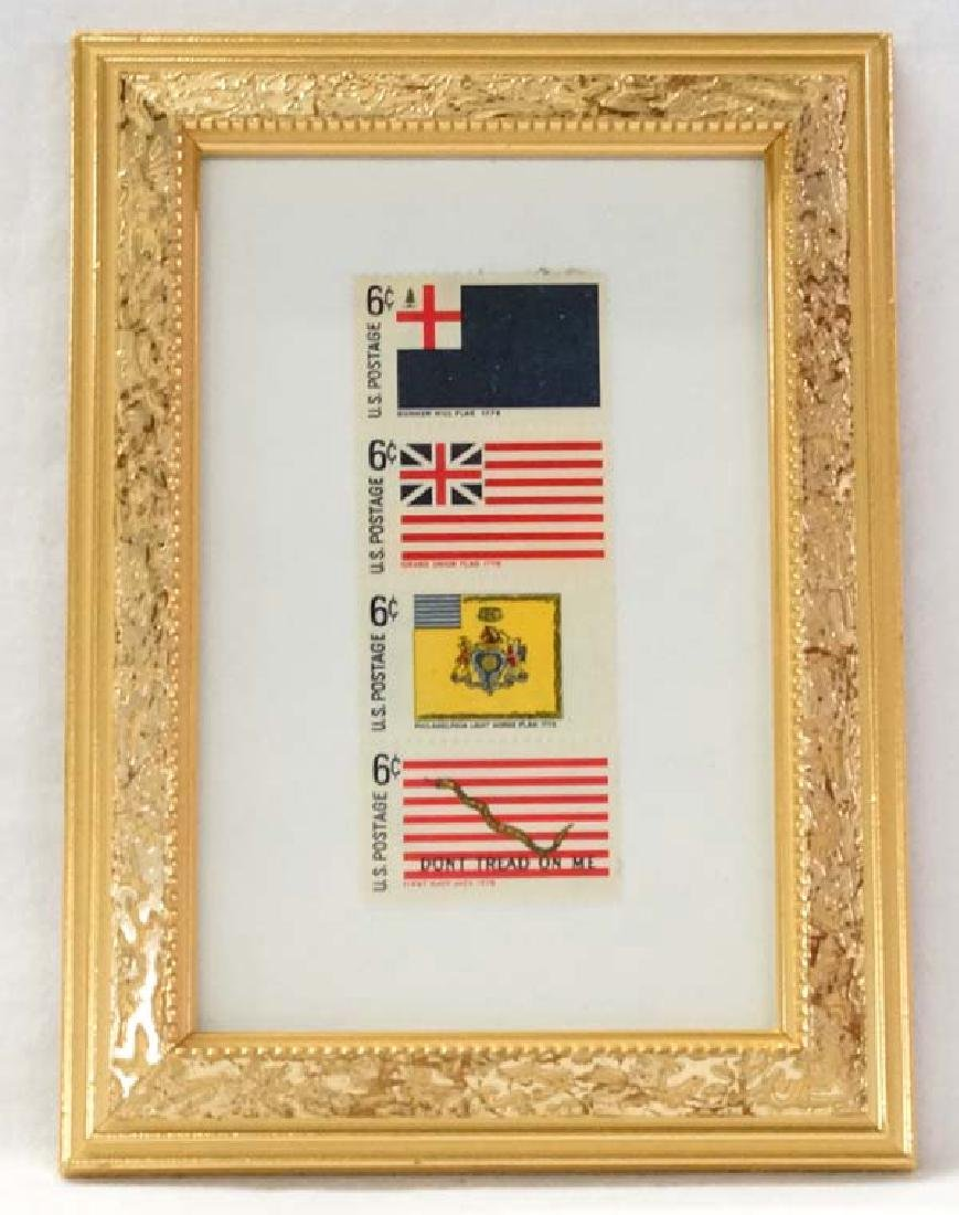 Framed History of the U.S. Flag Stamps, S&H $15