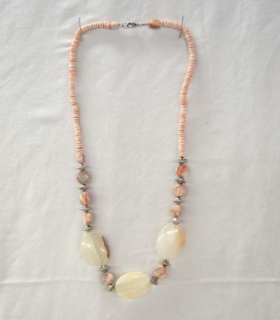 Beaded Stone necklace 26in SH $10