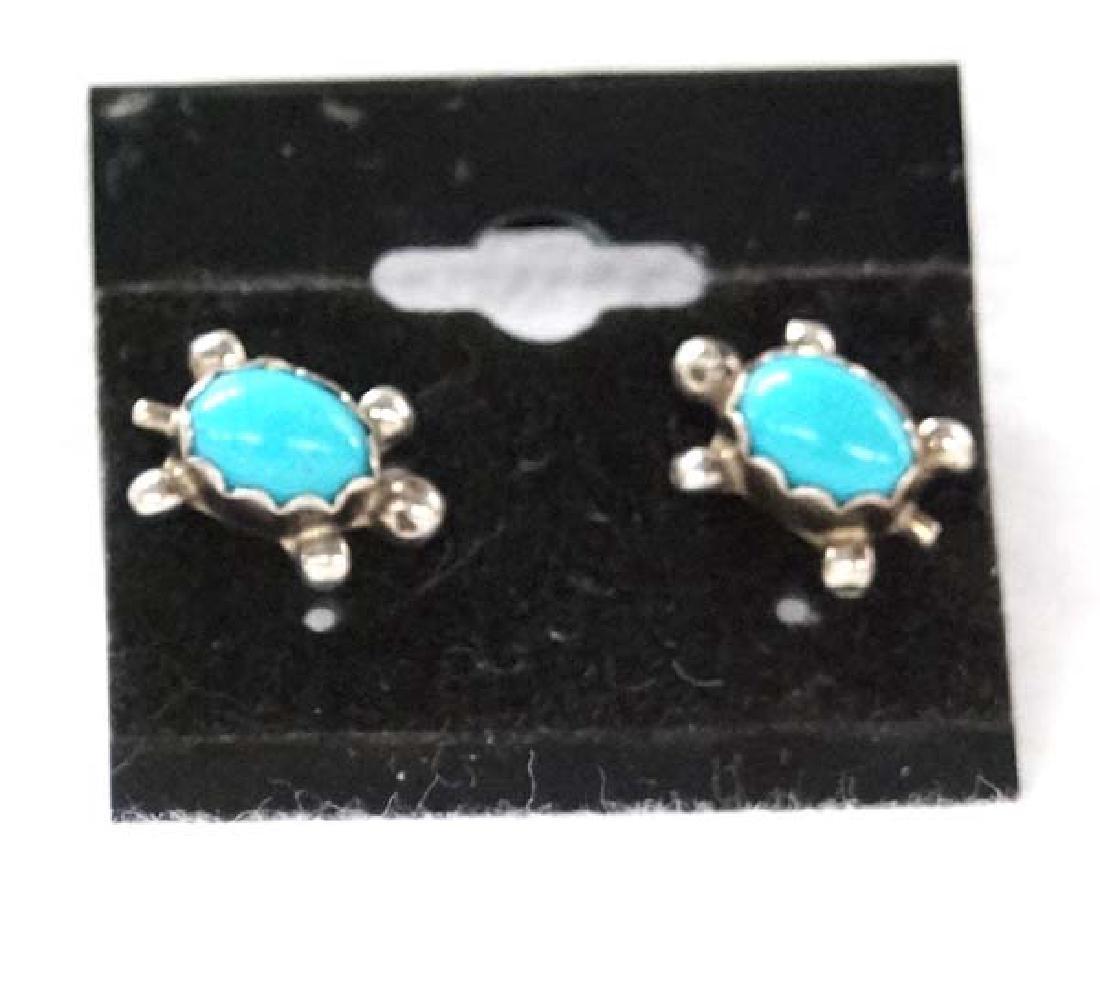 Navajo Sterling Silver Turtle Earrings SH $10