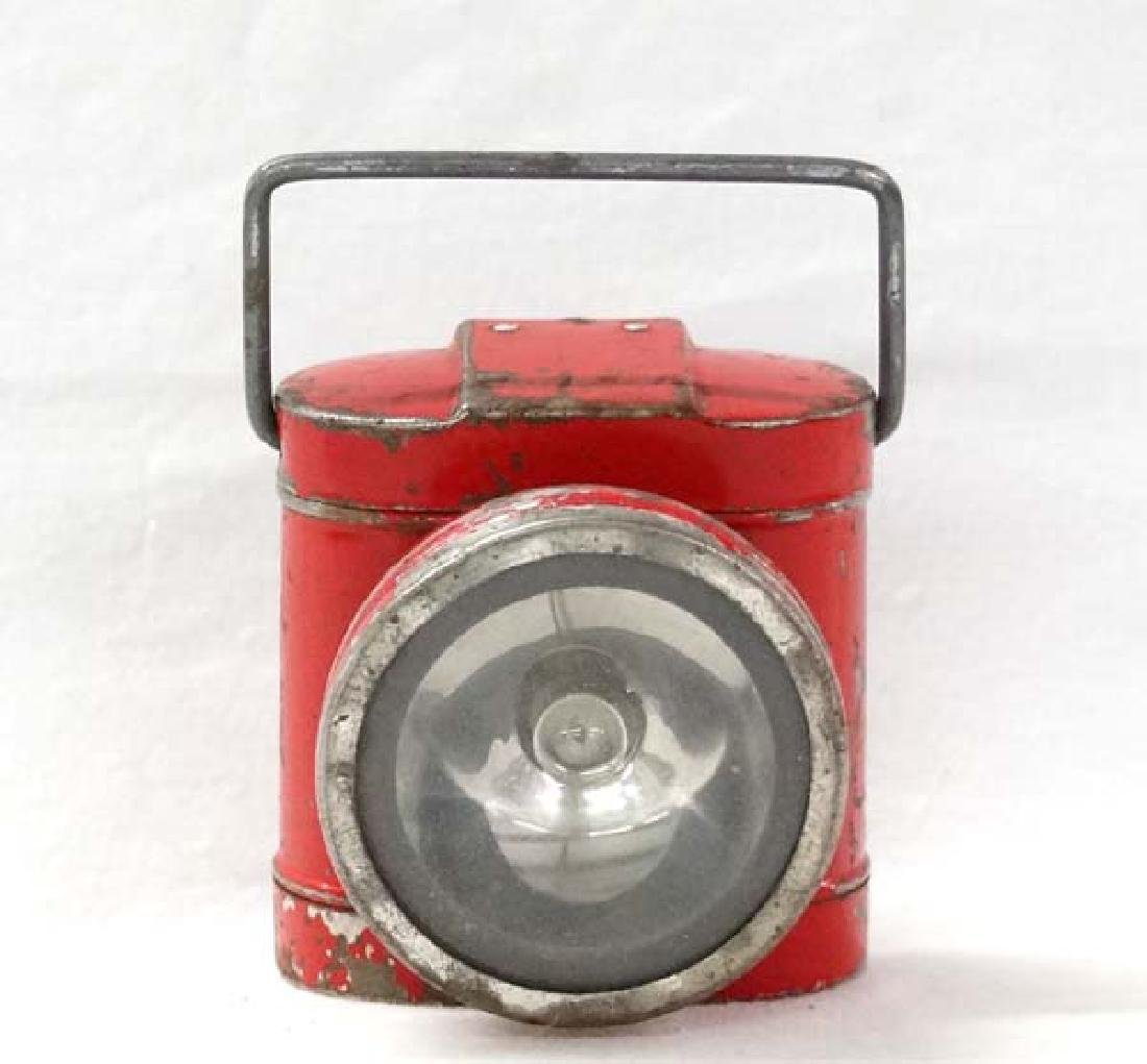 Small Red Painted Miner's Lamp, 3 in. L, S&H $15