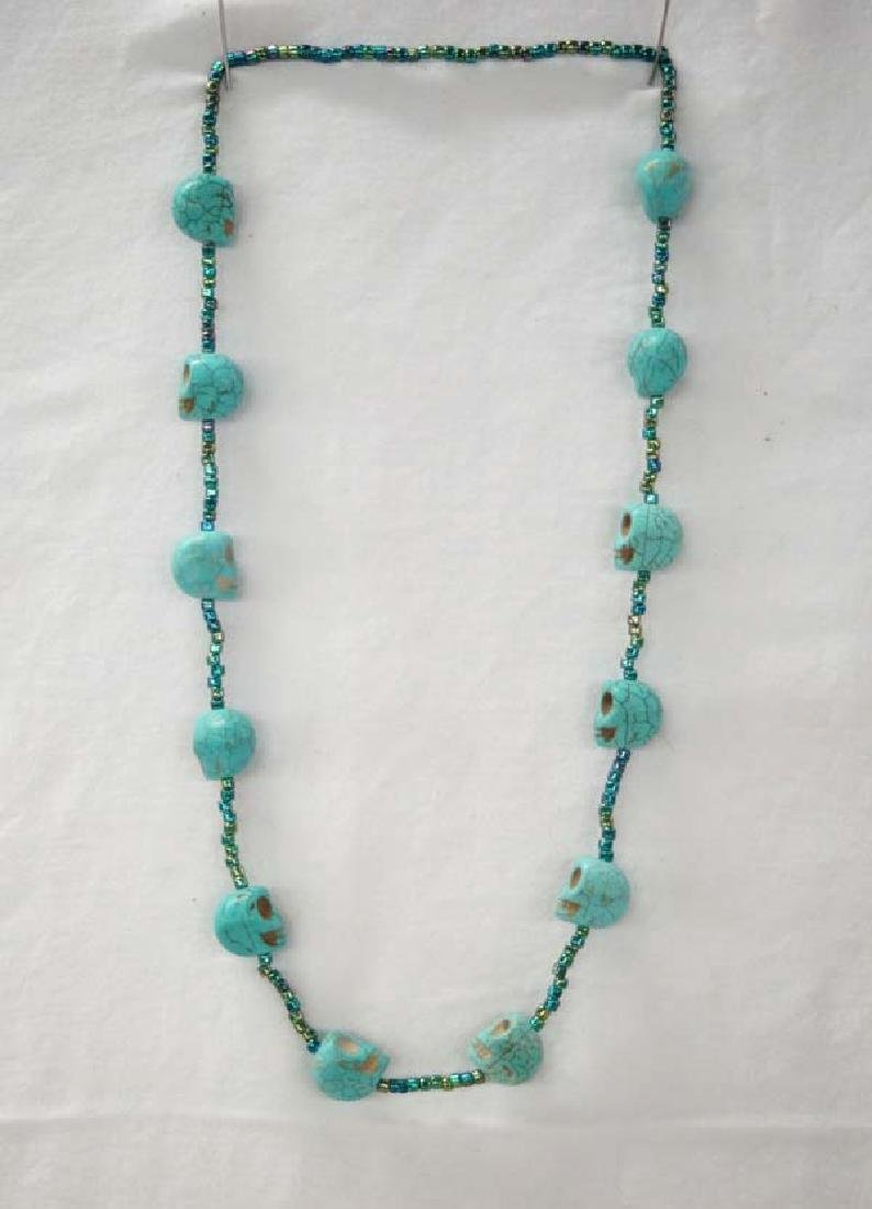 Turquoise Skull Necklace 26in SH $10